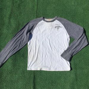 Abercrombie & Fitch Gray White Raglan Baseball Tee